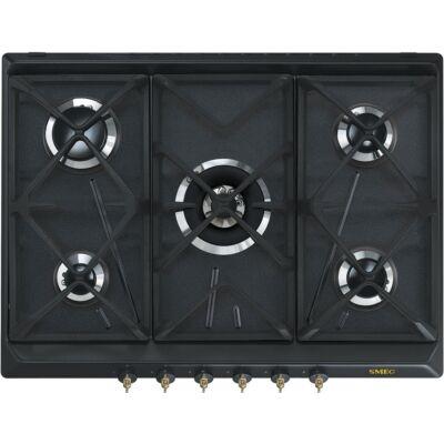 SMEG SRV876AOGH beépíthető rusztikus gáz főzőlap - antracit / bronz