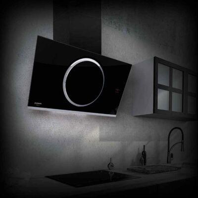 NODOR NorBreeze CIRCUM 90 DB NMOTION döntött ernyős fali páraelszívó - fekete üveg