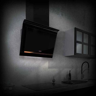 NODOR NorBreeze FRIDA 80 CU döntött ernyős fali páraelszívó - fekete üveg