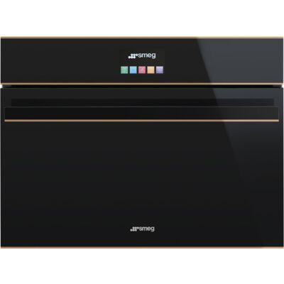 SMEG SF4604WVCPNR kompakt kombi beépíthető gőzpároló-sütő - fekete üveg / réz