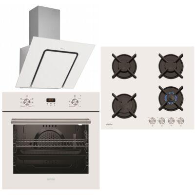 Simfer 6206OERBB sütő - 6400NGSBB üveg-gáz főzőlap - Silverline U-Lined 3423/90 páraelszívó fehér szett
